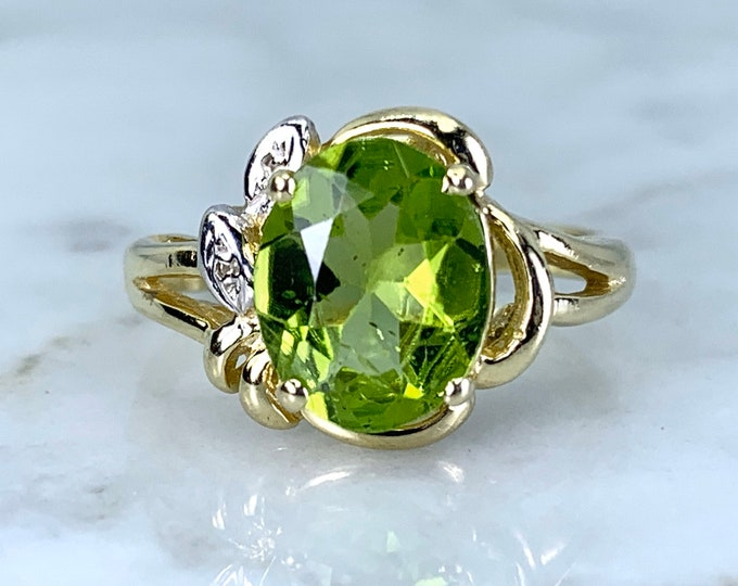 Peridot Ring with Diamond Accents in 14K Yellow Gold. August Birthstone. 16th Anniversary Gift. Estate Jewelry.