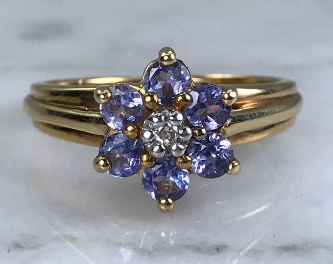 Vintage Tanzanite Ring. Diamond Accent. 10k Yellow Gold. Estate Jewelry. Unique Engagement Ring. December Birthstone. 24th Anniversary Gift