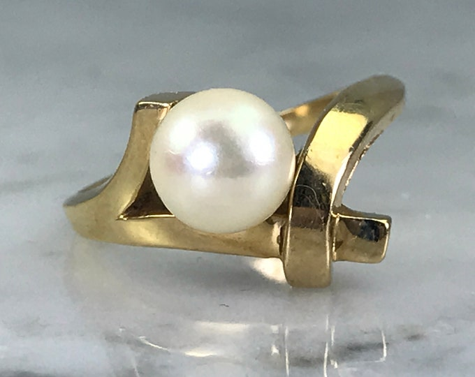Pearl Engagement Ring. 14k Yellow Gold. Bamboo Style. Vintage Estate Jewelry. June Birthstone. 4th Anniversary Gift. Unique Engagement Ring.