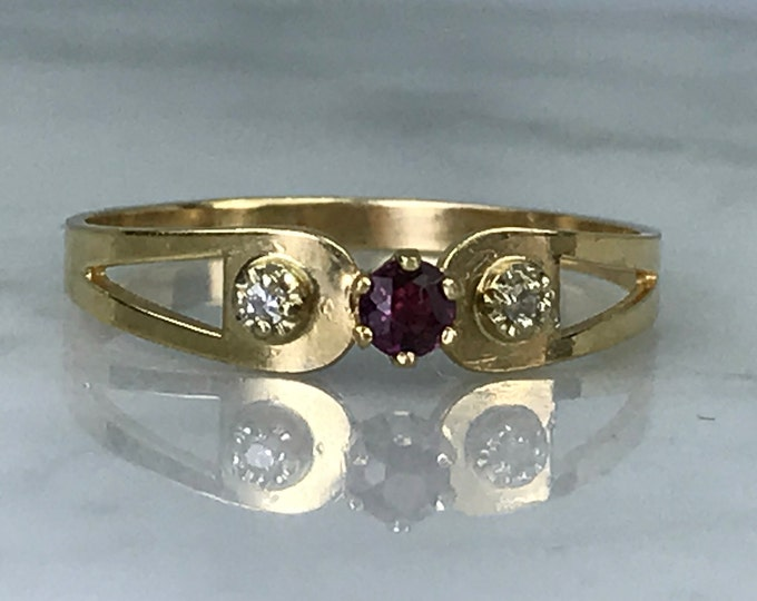 Vintage Ruby Diamond Ring or Wedding Band. Unique Engagement Ring. July Birthstone. 15th Anniversary. Estate Jewelry.