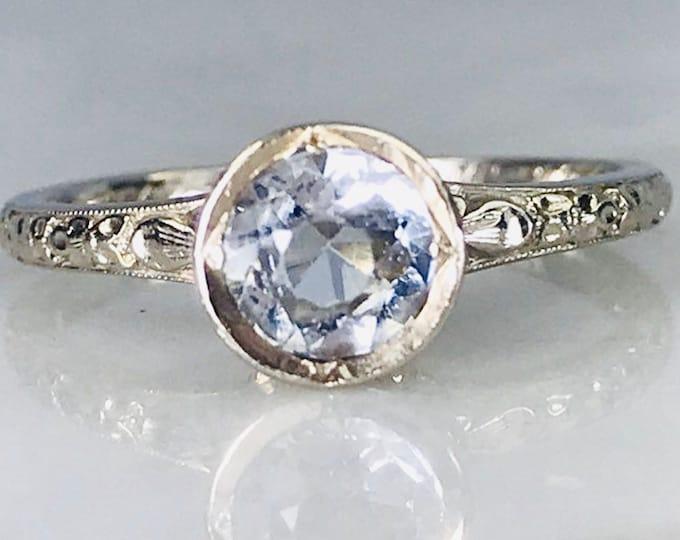 Antique Aquamarine Art Deco Engagement Ring in 18k White Gold. Orange Blossom Ring. March Birthstone. 19th Anniversary.