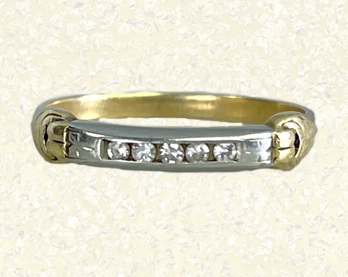Vintage Diamond Wedding Band in White and Yellow Gold. Perfect Stacking Ring. 1920s Estate Jewelry. Diamond Stacking Ring. Gold Band.
