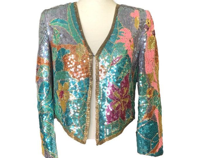 Vintage 1980s Sequin Bolero Jacket in a Vibrant Floral by Jack Bryan. Perfect Statement Piece. Sustainable Clothing.
