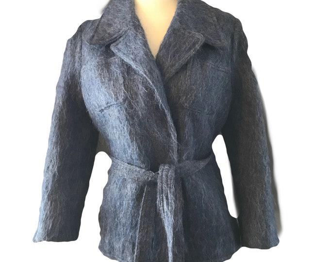Vintage Blue Mohair Pea Coat by The Scotch House. Warm Winter Coat. Vintage Fashion