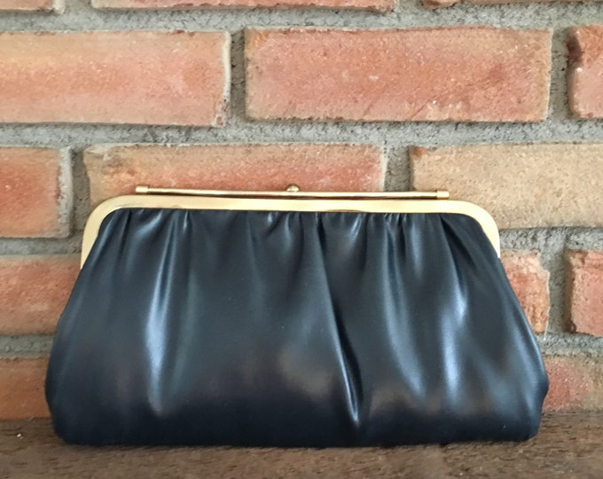 Vintage Clutch Purse Reversible White or Navy Blue. Gold Tone Hardware. 1950s Evening Bag, Navy Blue Purse. White Handbag. Two in One Clutch