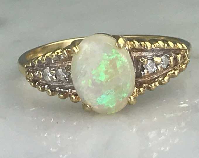 Vintage Opal Ring with Diamond Accents set in 14K Gold. Unique Engagement Ring. October Birthstone. 14th Anniversary. Estate Jewelry.