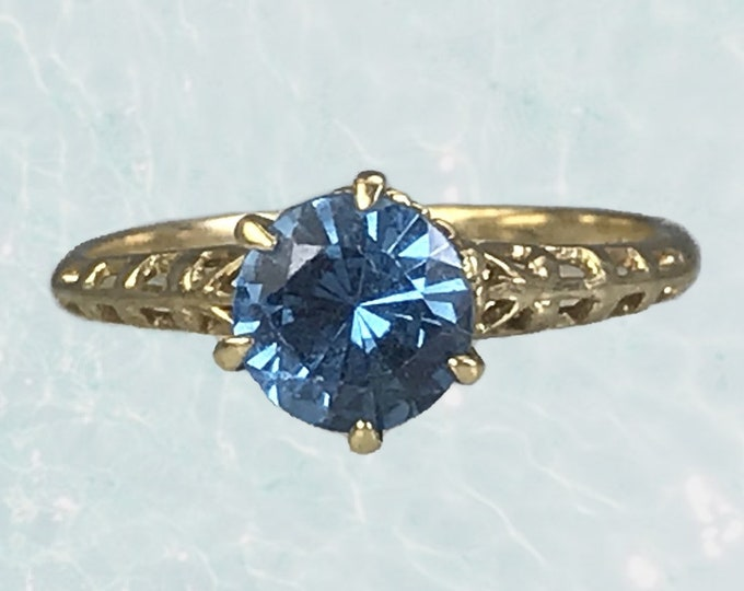 1950s Aquamarine Engagement Ring by Crosby set in 10k Yellow Gold. March Birthstone. 19th Anniversary. Estate Jewelry. Promise Ring.