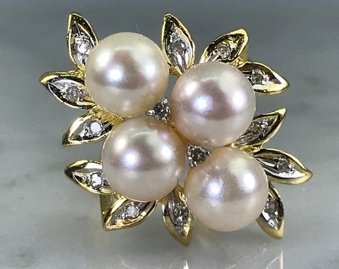 Pearl Diamond Ring. 14k Yellow Gold. Pearl Cluster Ring. Vintage Estate Jewelry. June Birthstone. 4th Anniversary Gift. Wedding Jewelry