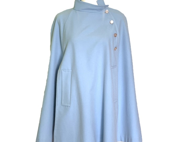 Vintage Blue Poncho Cape for Montgomery Ward. Asymmetrical Stylish Outerwear Coat. Sustainable Fashion Clothing Circa 1950s