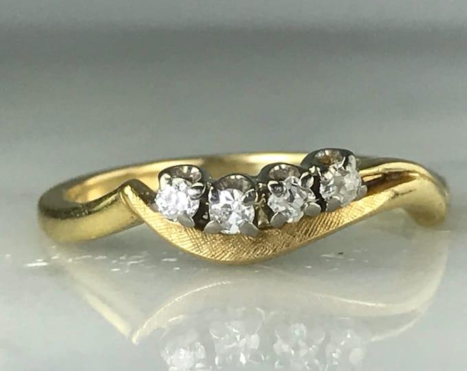 Vintage Diamond Wedding Band. Jabel. 14K Gold. April Birthstone. 10th Anniversary Gift. Estate Jewelry. Diamond Stacking Ring. Gold Band.