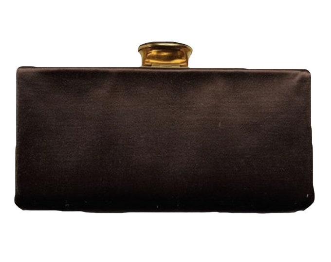 1940s Brown Satin Clutch with Gold Tone Accents by Evans. Old Hollywood Glamour Sustainable Vintage Fashion Accessory.