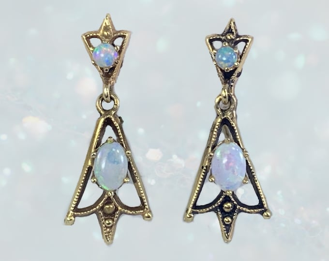 Vintage 1940s Opal Drop Earrings in 14K Yellow Gold Setting. Very Old Hollywood Glam! October Birthstone and 14th Anniversary Gift.