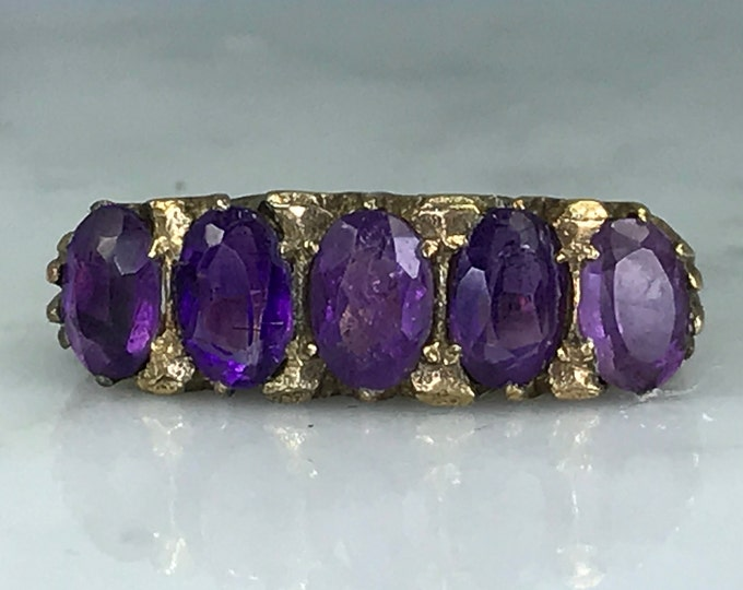 Amethyst Cluster Ring. Yellow Gold. Unique Engagement Ring. February Birthstone. 6th Anniversary. Size 7. Antique Estate Jewelry. Circa 1914