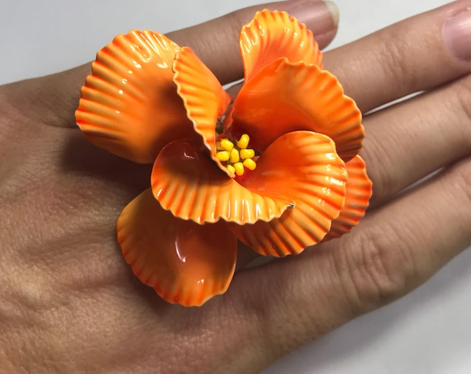 Upcycled Vintage Statement Ring. Vintage Orange Enamel Flower Ring. Upcycled Brooch Ring. Tropical Flower Ring. Recycled Reused Reclaimed