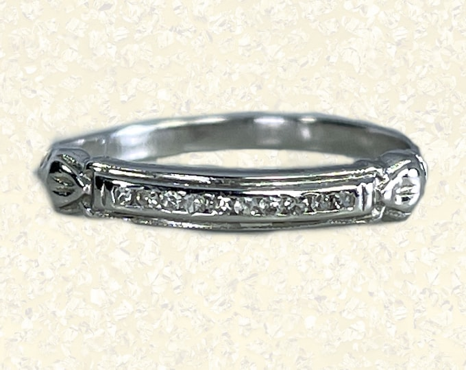 Vintage Diamond Wedding Band in 18K White Gold. Perfect Stacking Ring. 1950s Sustainable Estate Fine Jewelry