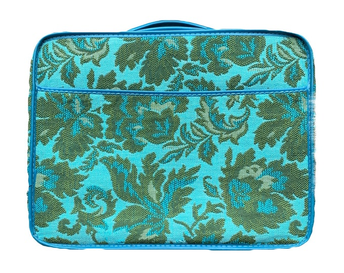 1950s Tapestry Suitcase a in Bright Turquoise and Green Brocade Floral Pattern. Perfect Overnight Bag
