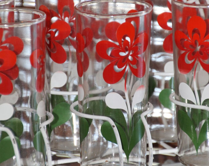 Vintage Glassware 1960s Tall Tumbler Glasses. White Red and Green Floral Design and White Caddy. Barware. Drink Glasses. Housewarming Gift