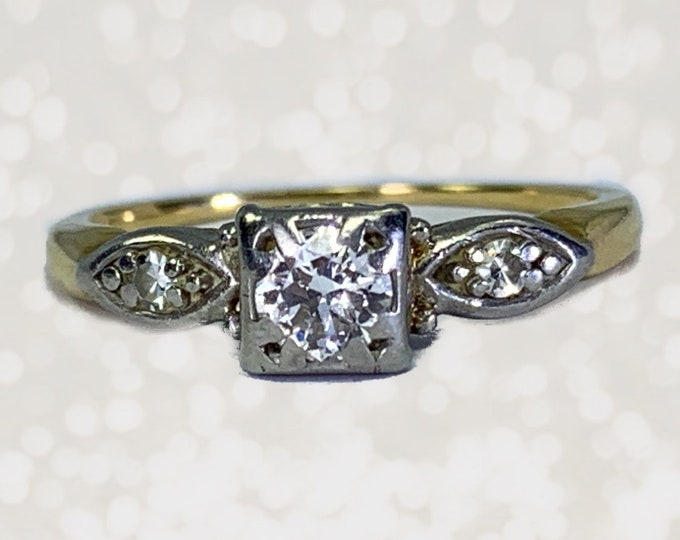 1920s Art Deco Diamond Engagement Ring by Jabel in 14K Gold. Unique Estate Jewelry. April Birthstone. 10 Year Anniversary Gift.