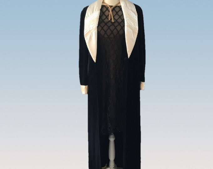 Vintage Black Velvet Coat with Cream Silk Lining by Christian Dior. Upcycled Vintage Clothing.