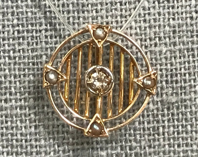Upcycled Diamond and Seed Pearl Pendant in 10K Gold. April Birthstone. 10th Anniversary Gift. Estate Jewelry. Recycled Hat Pin.