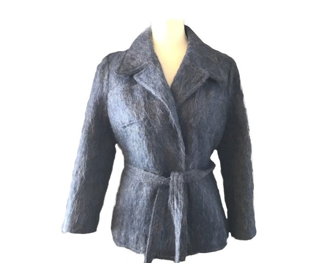 Blue Mohair Pea Coat by The Scotch House. A Warm Winter Coat with Timeless Style. Sustainable 1960s Vintage.