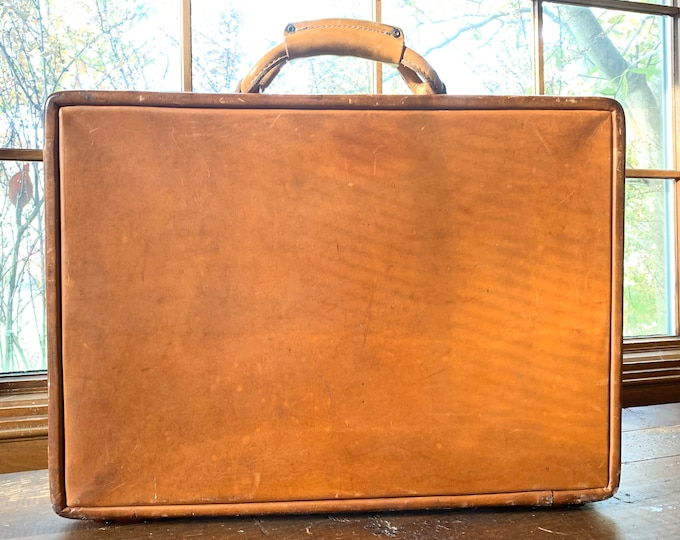 1940s Tan Leather Briefcase by Hartmann Luggage. Caramel Brown Attache. Perfect Gift for Eclectic Dad, Husband or Son!