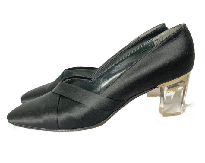 Vintage Womens Kitten Heel Pumps in Black Satin with a Clear Lucite Heel. Shoes Made for Fenton Last at Saks Fifth Avenue. Size 7 1/2