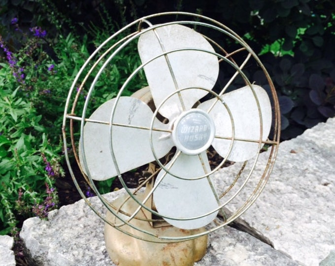 Vintage Desk Fan by Wizard Husky. Home Decor. Office Decoration. Mid Century Modern. Industrial Chic. Steampunk