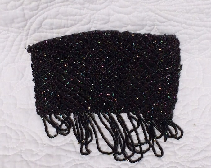 Vintage Clutch / Purse / Handbag / Bag / Coin Purse in Flapper Style with Black Glass Beads. Fashion Accessory