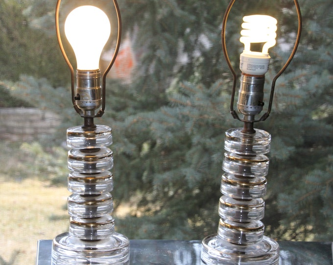 Vintage Lamps Hollywood Glam Lighting Glass Table Lamps with Gold Accent, Home Decor, Set of 2, Bedside Table Lamp Desk Light