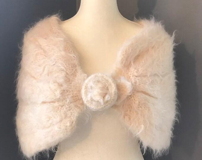 Vintage Winter White Mohair Shrug by Saks Fifth Avenue. Wedding Boleros. Cream Wrap. Bridal Jacket.