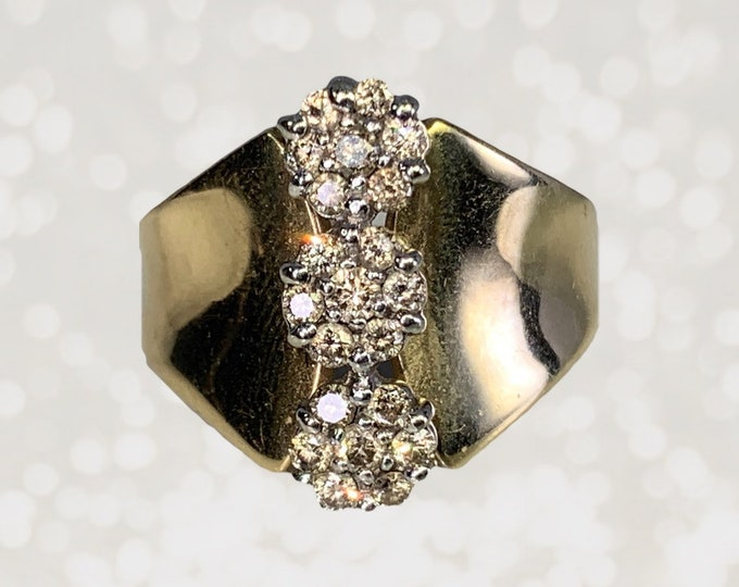 1970s Diamond Cluster Statement Ring in a 10K Yellow Gold Setting. Affordable Vintage Estate Jewelry.