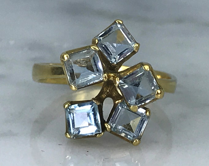 Vintage Aquamarine Cluster Ring. Modernist 18k Yellow Gold Setting. Unique Engagement Ring. March Birthstone. 19th Anniversary Gift.