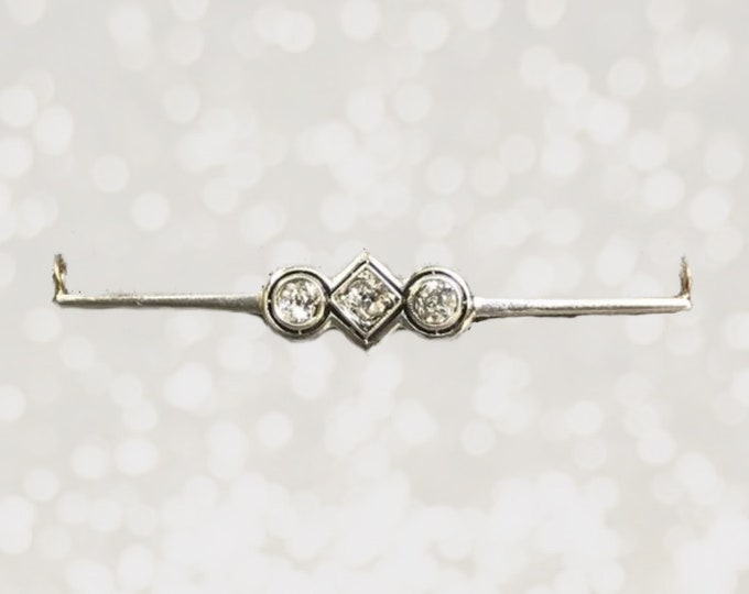 1920s Diamond Bar Pendant in 14K White Gold that was Upcycled from a Art Deco Brooch. April Birthstone. Estate Jewelry.