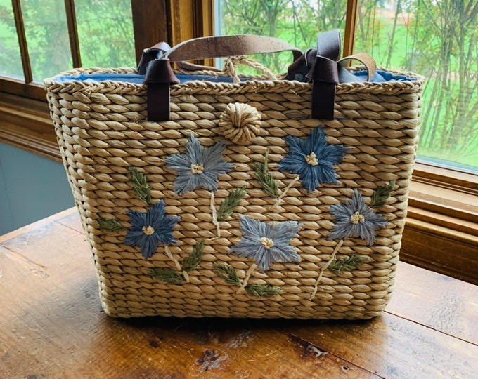 Vintage Straw Bag with Blue Floral Pattern. Perfect Summer Shoulder Bag , Market Purse, or Beach Bag.