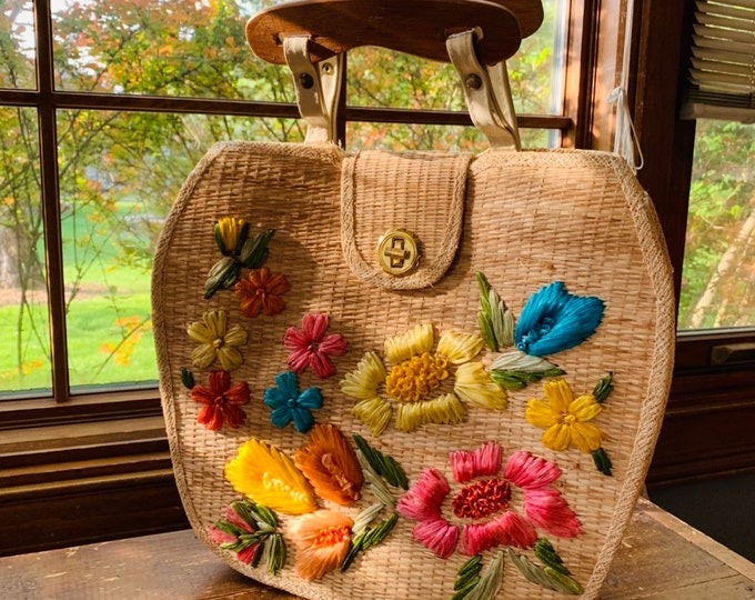 Vintage Straw Purse with Colorful Floral Pattern by Whidby. Perfect Summer Bag.
