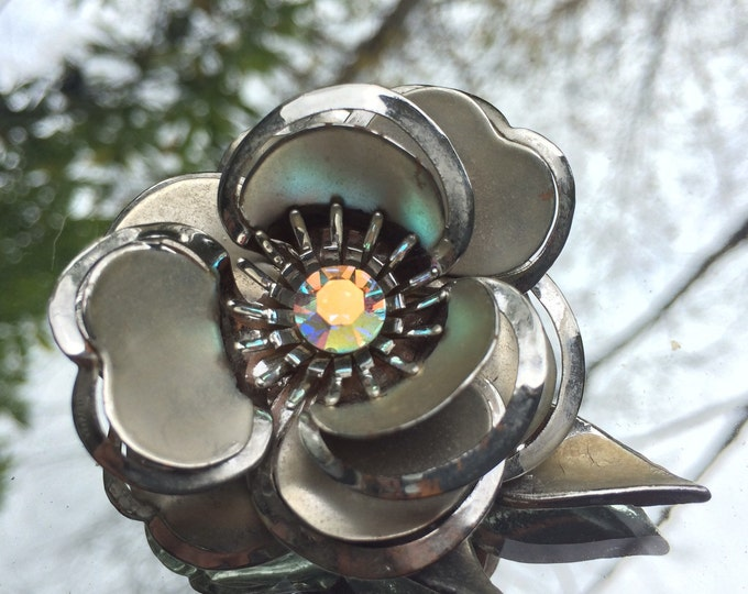 Vintage Silver and White Flower Brooch. Flower Lapel Pin with Rhinestone Center. Repurposed Pendant.