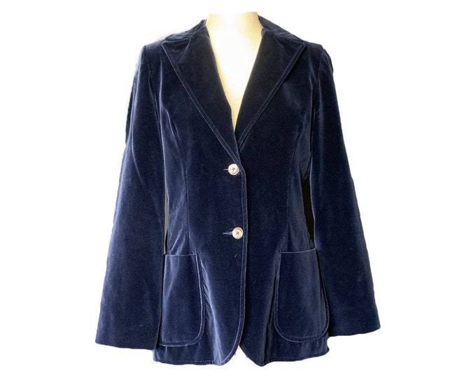 Vintage Blue Velvet Blazer by Koret. Perfect Statement Piece for Fall. Sustainable Fashion Circa 1970s.