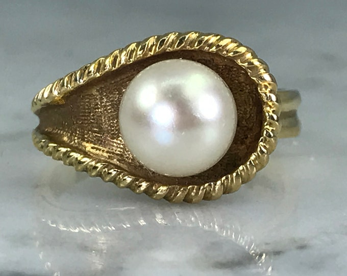 Vintage Pearl Ring. Asymmetrical. 14k Yellow Gold. Estate Fine Jewelry.  June Birthstone. 4th Anniversary Gift. Unique Engagement Ring.