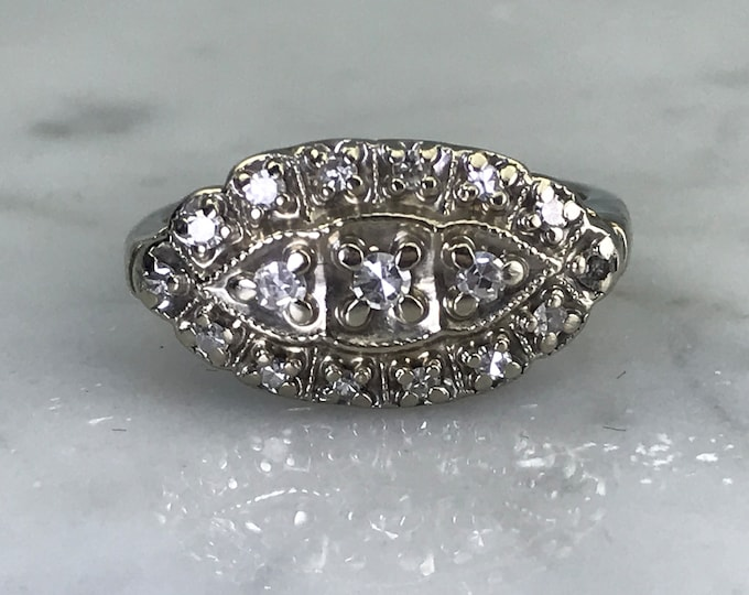 Diamond Cluster Ring. 14K White Gold. Unique Engagement Ring. April Birthstone. 10 Year Anniversary. Vintage Shield Ring. Estate Jewelry.