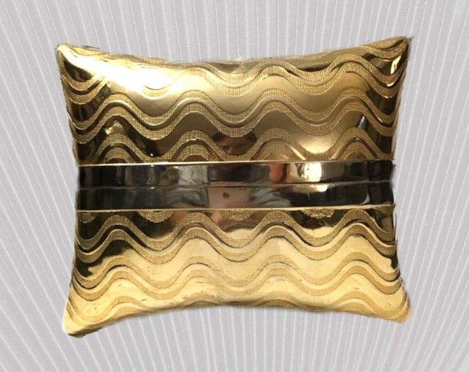 1950s Gold Metallic Clutch this is a Pillow Shaped Evening Bag by Walborg. Gift for Her. Sustainable Vintage Fashion Accessory.