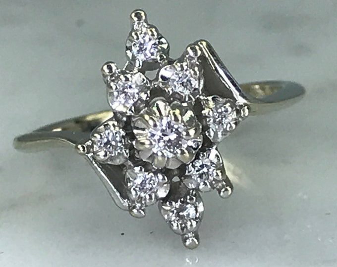 Diamond Cluster Ring . 14K White Gold. Unique Engagement Ring. April Birthstone. 10 Year Anniversary Gift. Vintage Estate Jewelry.