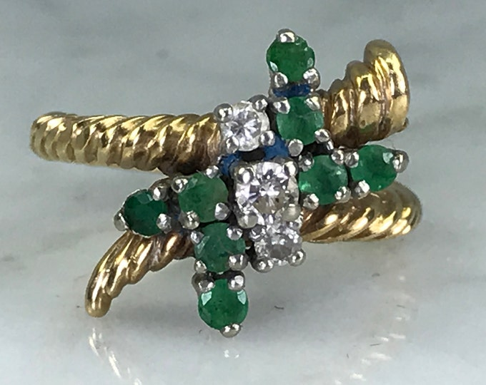 Emerald Diamond Ring. 14K Yellow Gold. Bypass Ring. Unique Engagement Ring. Vintage Estate Jewelry. May Birthstone. 20th Anniversary.