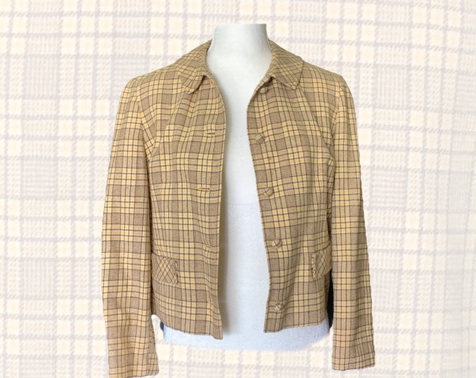 1970s Yellow Plaid Short Wool Jacket or Blazer by Pendleton. 2020 Fall Fashion Trend Vintage Style. Sustainable Clothing.