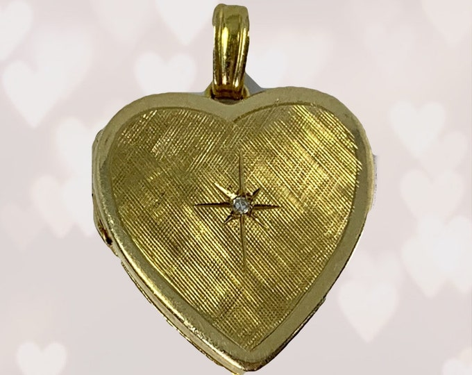 1960s Heart Shaped Gold and Diamond Locket Perfect for Special Photos or a Secret Message. Gift for Her. Brides Gift.
