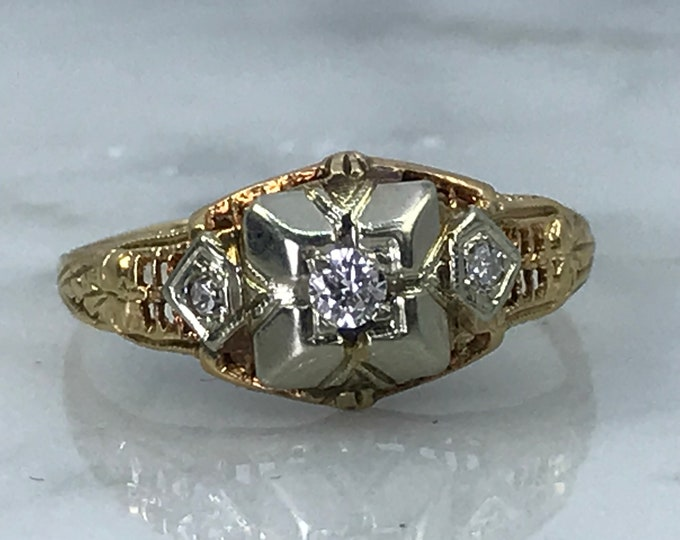 Vintage Diamond Engagement Ring. Art Deco Circa 1930 14K Gold. Unique Engagement Ring. April Birthstone. 10 Year Anniversary. Estate Jewelry