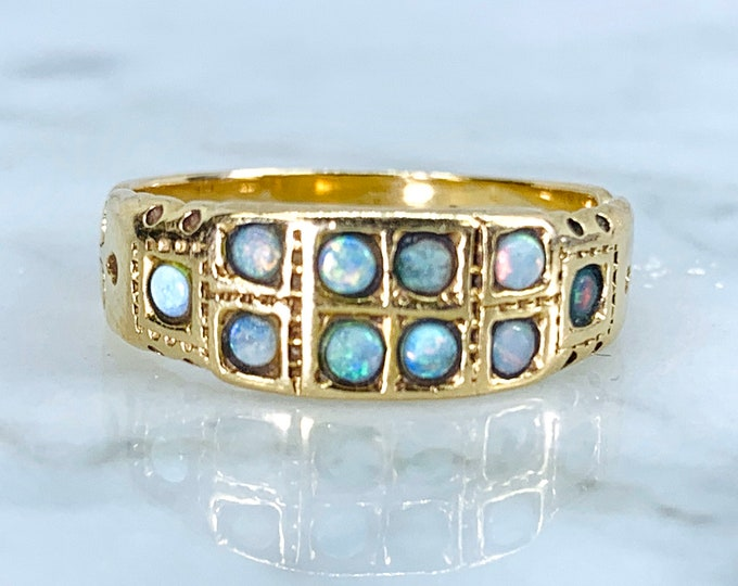 Opal Cluster Ring in 14k Gold. Band Style Stacking Ring. Unique Engagement Ring. Estate Jewelry Circa 1970. October Birthstone.