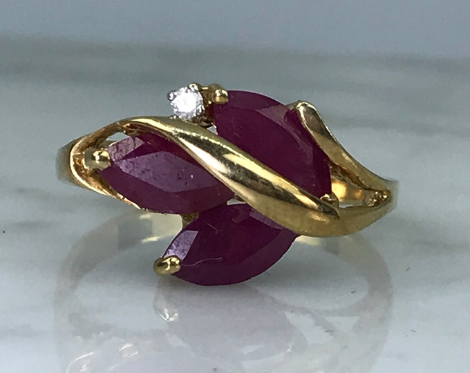 Vintage Ruby Statement Ring with Diamonds Accent in 10K Gold. Unique Engagement Ring. July Birthstone. 15th Anniversary.