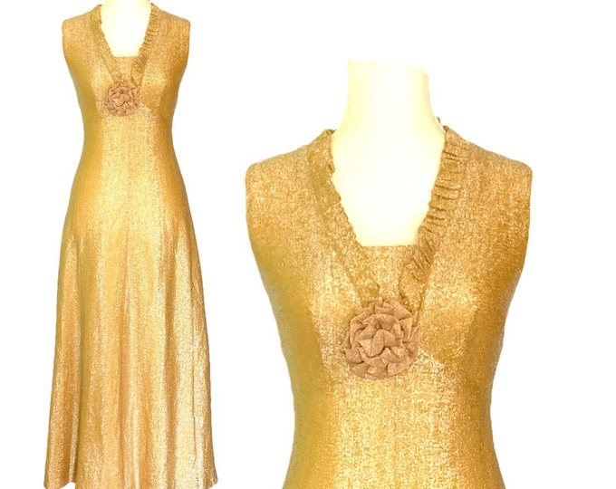 Vintage 1960s Metallic Gold Dress. Stunning Sparkly Gold Gown Perfect for a Formal Event or New Years Eve.