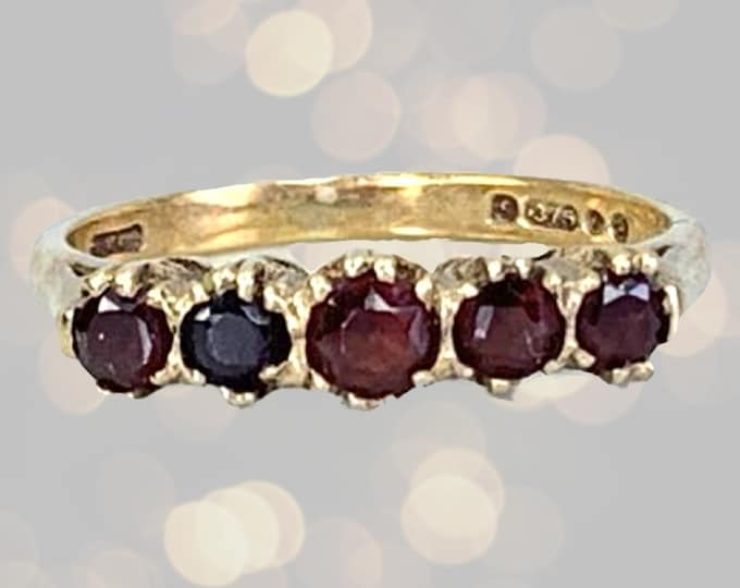 Vintage Garnet Stacking Ring in Yellow Gold. Unique Wedding Band. January Birthstone. 2 Year Anniversary. Estate Jewelry Circa 1960s